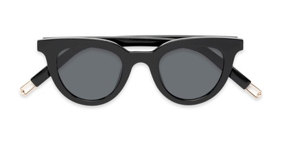 Folded of Paige #1624 in Black Frame with Grey Lenses