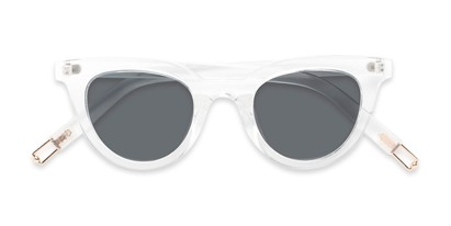 Folded of Paige #1624 in Clear Frame with Grey Lenses