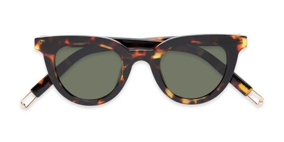 Folded of Paige #1624 in Tortoise Frame with Green Lenses