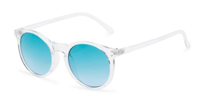 Angle of Paradise #4526 in Clear Frame with Blue Faded Lenses, Women's Round Sunglasses