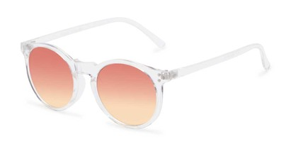 Angle of Paradise #4526 in Clear Frame with Orange Faded Lenses, Women's Round Sunglasses