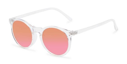 Angle of Paradise #4526 in Clear Frame with Orange/Pink Faded Lenses, Women's Round Sunglasses