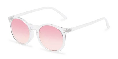 Angle of Paradise #4526 in Clear Frame with Pink Faded Lenses, Women's Round Sunglasses