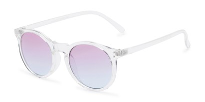 Angle of Paradise #4526 in Clear Frame with Blue/Purple Faded Lenses, Women's Round Sunglasses