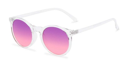 Angle of Paradise #4526 in Clear Frame with Purple/Pink Faded Lenses, Women's Round Sunglasses