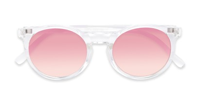 Folded of Paradise #4526 in Clear Frame with Pink Faded Lenses