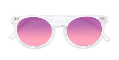 Folded of Paradise #4526 in Clear Frame with Purple/Pink Faded Lenses