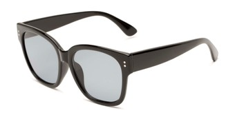 Angle of Patio #5485 in Glossy Black Frame with Smoke Lenses, Women's Retro Square Sunglasses