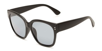 Angle of Patio #5485 in Matte Black Frame with Smoke Lenses, Women's Retro Square Sunglasses