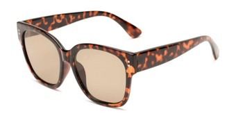 Angle of Patio #5485 in Glossy Tortoise Frame with Amber Lenses, Women's Retro Square Sunglasses