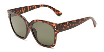 Angle of Patio #5485 in Matte Tortoise Frame with Green Lenses, Women's Retro Square Sunglasses