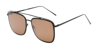 Angle of Patrick #31491 in Black Frame with Amber Lenses, Women's and Men's Aviator Sunglasses