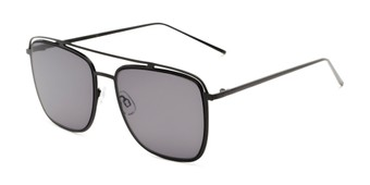 Angle of Patrick #31491 in Black Frame with Smoke Lenses, Women's and Men's Aviator Sunglasses