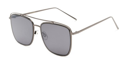 Angle of Patrick #31491 in Grey Frame with Smoke Lenses, Women's and Men's Aviator Sunglasses