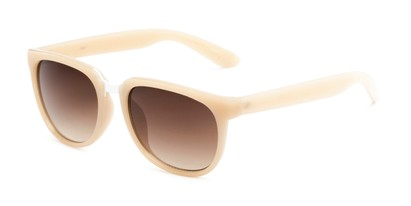Angle of Payton #32027 in Tan Frame with Amber Lenses, Women's Square Sunglasses