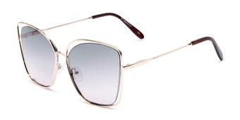 Angle of Pegasus #1726 in Gold Frame with Green/Pink Gradient Lenses, Women's and Men's