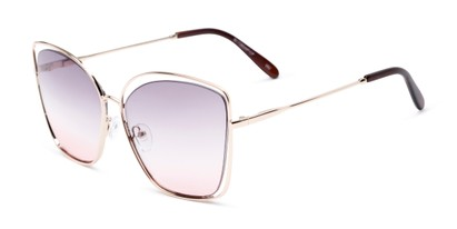 Angle of Pegasus #1726 in Gold Frame with Purple/Pink Gradient Lenses, Women's and Men's