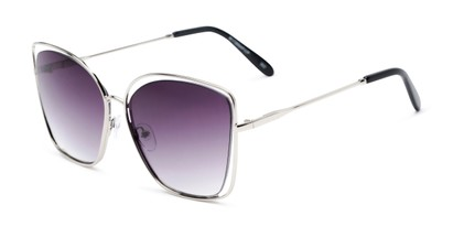 Angle of Pegasus #1726 in Silver Frame with Smoke Gradient Lenses, Women's and Men's