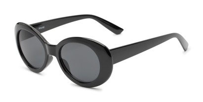 Angle of Penny #7410 in Black Frame with Grey Lenses, Women's Round Sunglasses