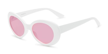 Angle of Penny #7410 in White Frame with Pink Lenses, Women's Round Sunglasses