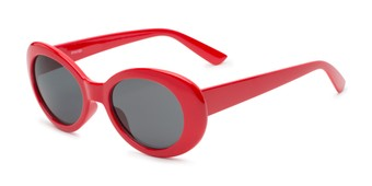 Angle of Penny #7410 in Red Frame with Grey Lenses, Women's Round Sunglasses