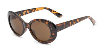 Angle of Penny #7410 in Tortoise Frame with Amber Lenses, Women's Round Sunglasses