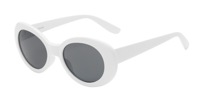 Angle of Penny #7410 in White Frame with Grey Lenses, Women's Round Sunglasses