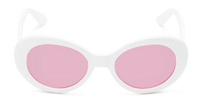 Front of Penny #7410 in White Frame with Pink Lenses