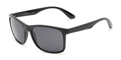 Angle of Perez #1651 in Black Frame with Grey Lenses, Men's Retro Square Sunglasses