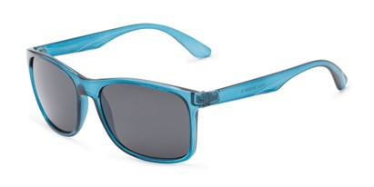 Angle of Perez #1651 in Clear Blue Frame with Grey Lenses, Men's Retro Square Sunglasses