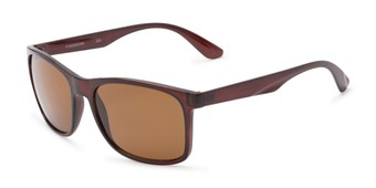 Angle of Perez #1651 in Clear Brown Frame with Amber Lenses, Men's Retro Square Sunglasses