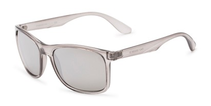 Angle of Perez #1651 in Clear Grey Frame with Silver Mirrored Lenses, Men's Retro Square Sunglasses