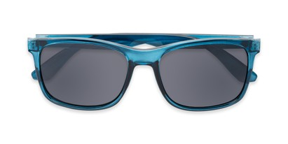 Folded of Perez #1651 in Clear Blue Frame with Grey Lenses