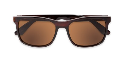 Folded of Perez #1651 in Clear Brown Frame with Amber Lenses