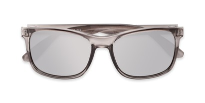 Folded of Perez #1651 in Clear Grey Frame with Silver Mirrored Lenses