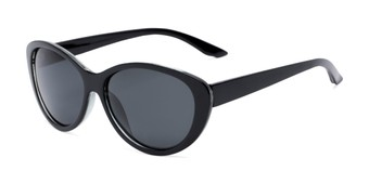 Angle of Petra #1312 in Black Frame with Grey Lenses, Women's Cat Eye Sunglasses