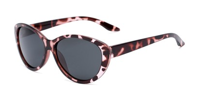 Angle of Petra #1312 in Pink Tortoise Frame with Grey Lenses, Women's Cat Eye Sunglasses