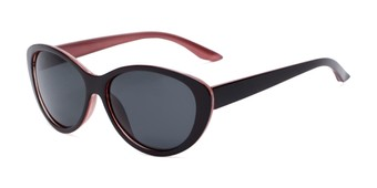 Angle of Petra #1312 in Dark Red/Pink Frame with Grey Lenses, Women's Cat Eye Sunglasses