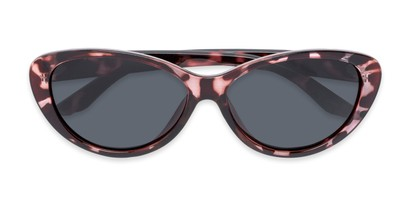 Folded of Petra #1312 in Pink Tortoise Frame with Grey Lenses