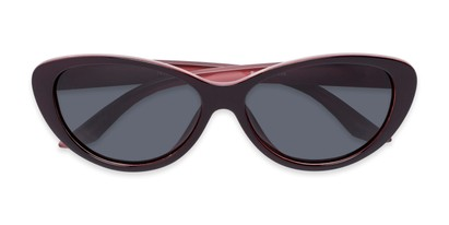 Folded of Petra #1312 in Dark Red/Pink Frame with Grey Lenses