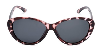 Front of Petra #1312 in Pink Tortoise Frame with Grey Lenses