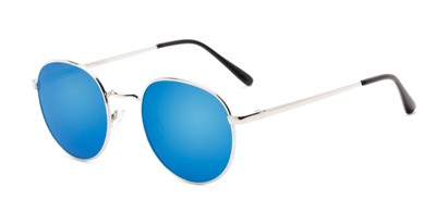 Angle of Phillips #7563 in Silver Frame with Blue Mirrored Lenses, Women's and Men's Round Sunglasses