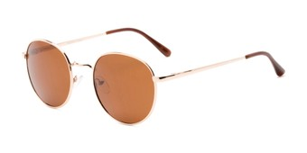 Angle of Phillips #7563 in Gold Frame with Amber Lenses, Women's and Men's Round Sunglasses