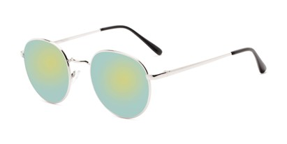 Angle of Phillips #7563 in Silver Frame with Green Mirrored Lenses, Women's and Men's Round Sunglasses