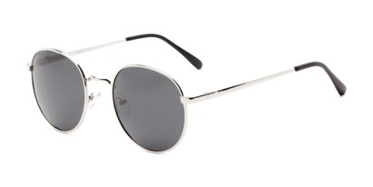 Angle of Phillips #7563 in Silver Frame with Grey Lenses, Women's and Men's Round Sunglasses