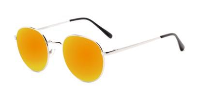 Angle of Phillips #7563 in Silver Frame with Orange Mirrored Lenses, Women's and Men's Round Sunglasses