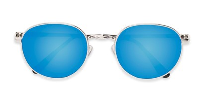 Folded of Phillips #7563 in Silver Frame with Blue Mirrored Lenses
