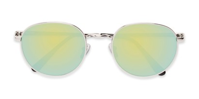 Folded of Phillips #7563 in Silver Frame with Green Mirrored Lenses