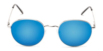 Front of Phillips #7563 in Silver Frame with Blue Mirrored Lenses