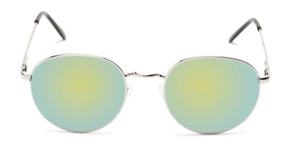 Front of Phillips #7563 in Silver Frame with Green Mirrored Lenses